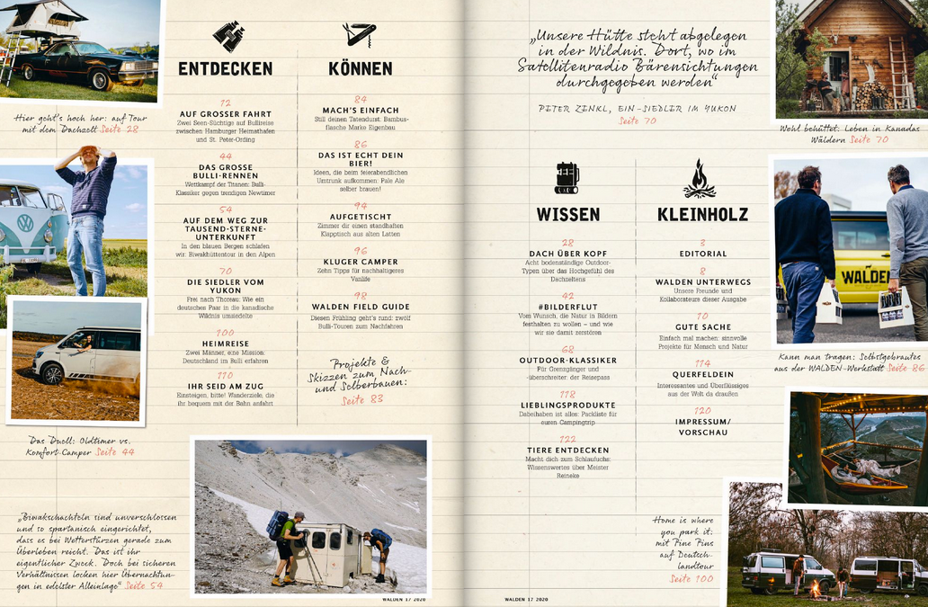 WALDEN Magazin #17 UNTERWEGS MIT CAMPER & CO.