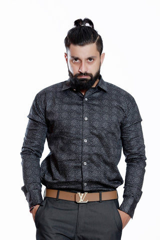 Cheap MENS ASYMITRICAL PRINTED SHIRT