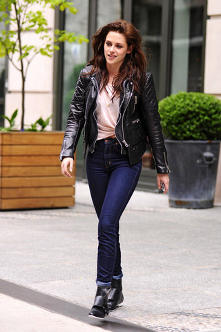 skinny jeans and leather jacket