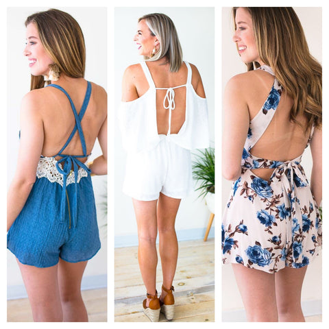 Open Back Rompers