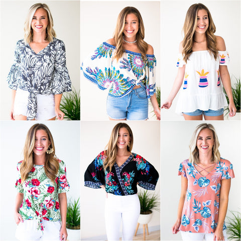 Tropical Print Tops