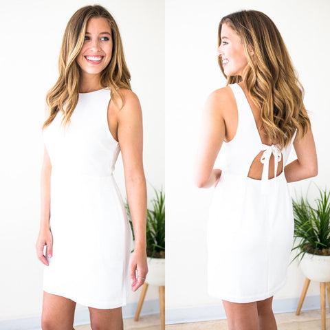 Tie Back White Dress
