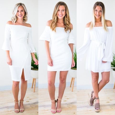 Off the Shoulder White Dresses