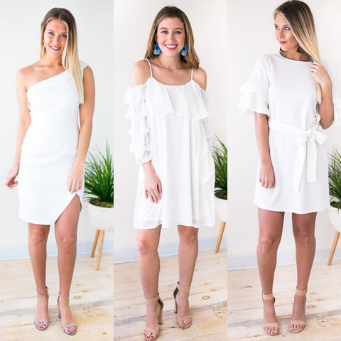 Shoulder Detail White Dresses