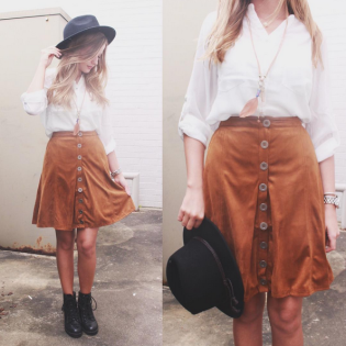 Button up S uede Skirt