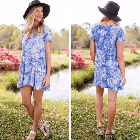 blue tie dye t shirt dress