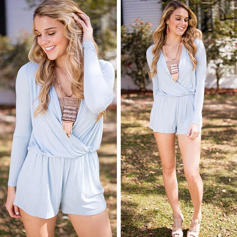 long sleeve blue romper
