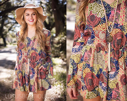 medallion printed romper