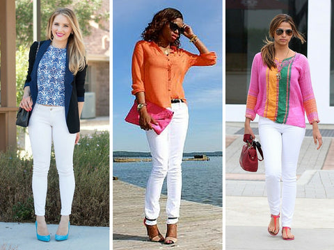 white jeans and bright top