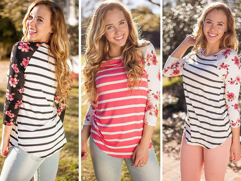 striped and floral baseball tee