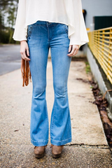 the perfect blue flared jeans