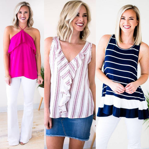 Tank Tops With Ruffle Accents