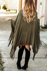fringe olive poncho dress