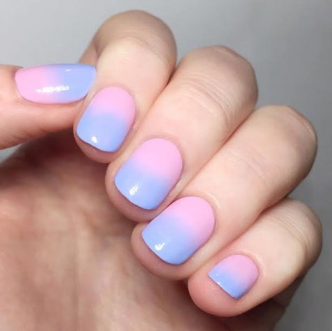 ombre pink and blue nails