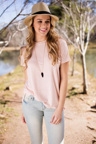 pink and oatmeal striped top