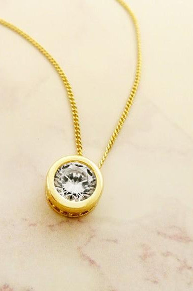 It's Time Circle Crystal Necklace