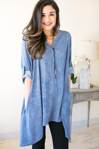 Fight Over It Blue Flowy Tunic