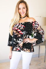 Be Inspired Feather Print Off Shoulder Top