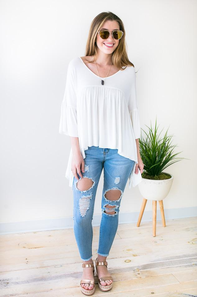 Off White Spring Top