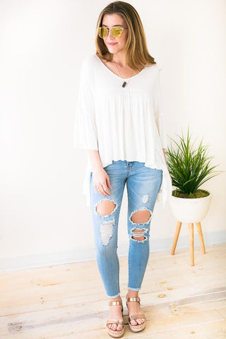 Collide Off White Asymmetric Hem Top
