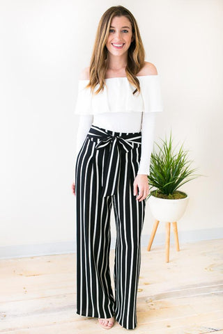 Rhyme & Reason Stripe Wide Leg Pants