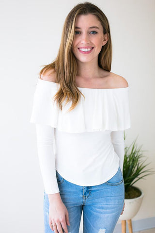 Lips are Sealed Ivory Off Shoulder Crop Top