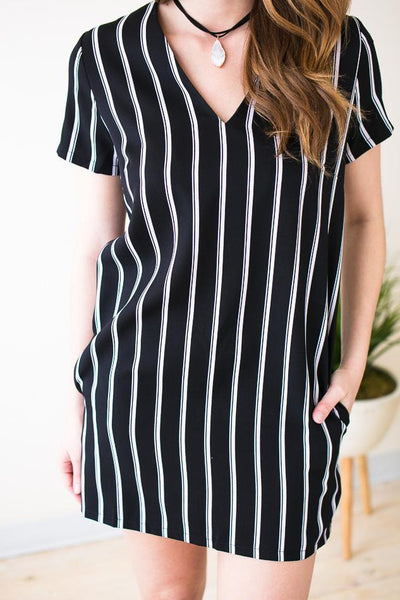 Dresses Black & White Habit Stripe Mini Dress - Lotus Boutique