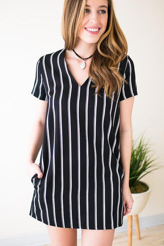 Black & White Habit Stripe Mini Dress