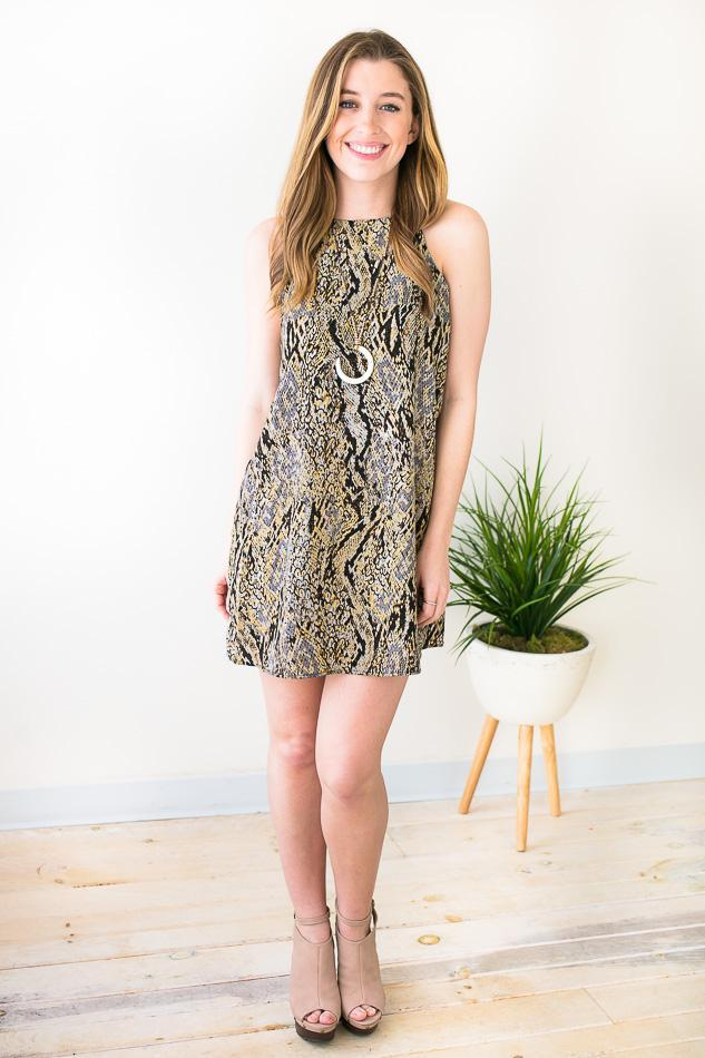 Dresses Little Sweet Thing Snake Print Dress - Lotus Boutique