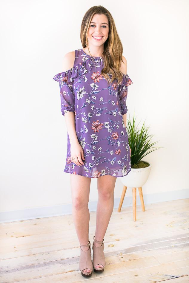 True to Myself Cold Shoulder Floral Dress-Dresses-Lotus Boutique-Lotus Boutique