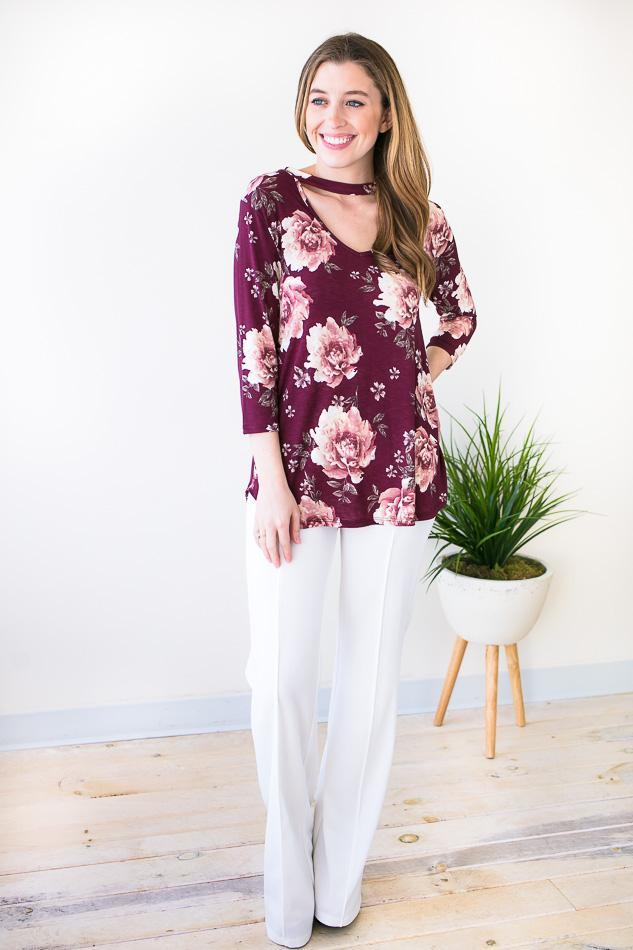 Light Weight Floral Choker Neck Top With 3/4 Sleeves