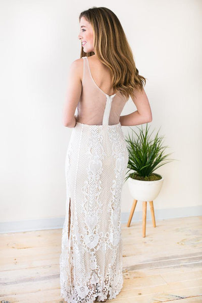 Dresses Angel Of Your Dreams White Lace Gown - Lotus Boutique