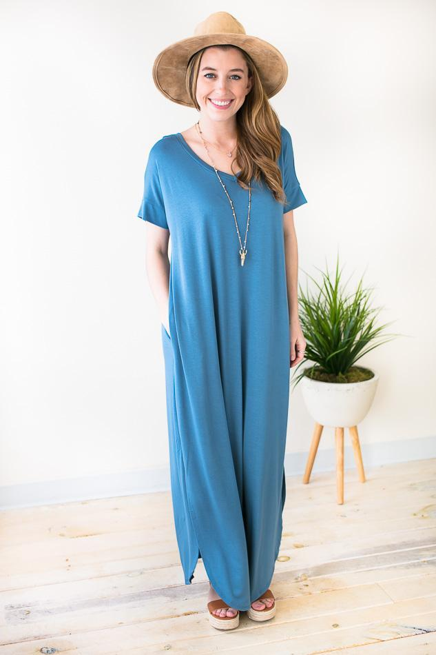 Dresses Pop of Color Maxi Dress with Pockets - Blue - Lotus Boutique