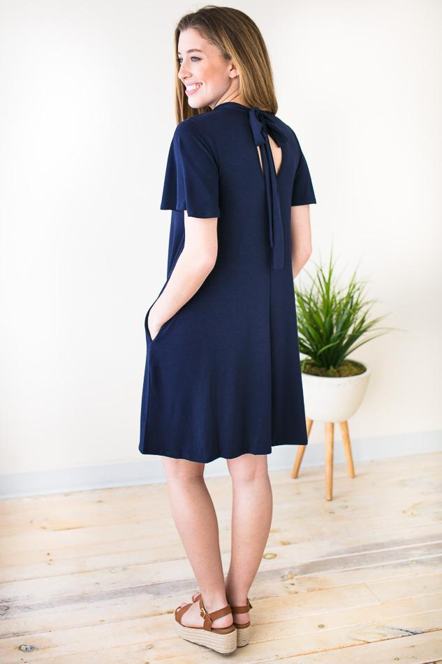 Hours with You Keyhole Pocket Dress - Navy-Dresses-Lotus Boutique-Lotus Boutique