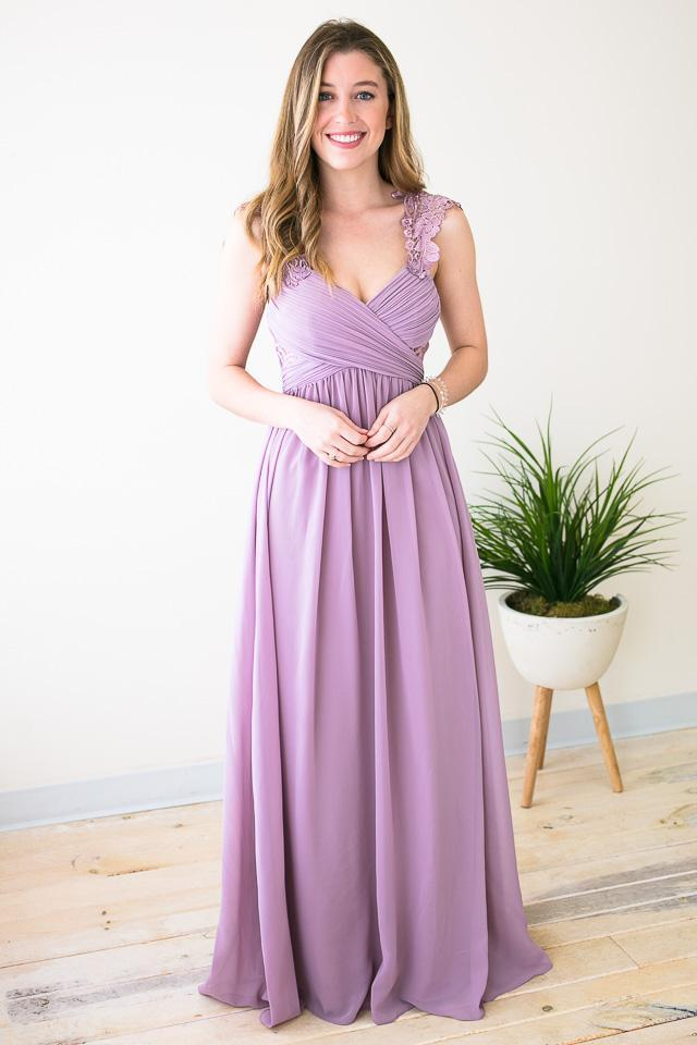 Dresses Wilted Roses Mauve Lace Strap Detail Gown - Lotus Boutique