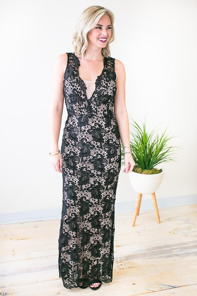Gorgeous Black Lace Formal Gown
