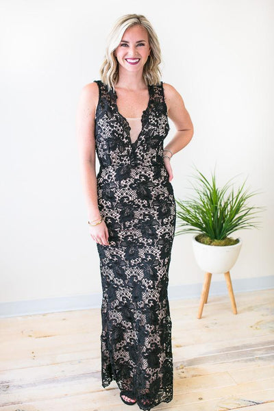 Dresses Sweet Whispers Black Lace Gown - Lotus Boutique