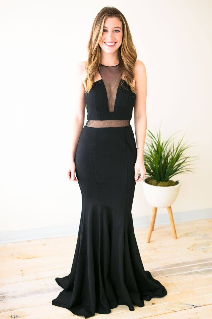 Dresses Blackbird Singing Black Sheer Detail Gown - Lotus Boutique