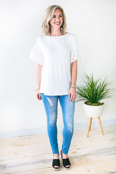 Summer Eyelet Sleeve Top