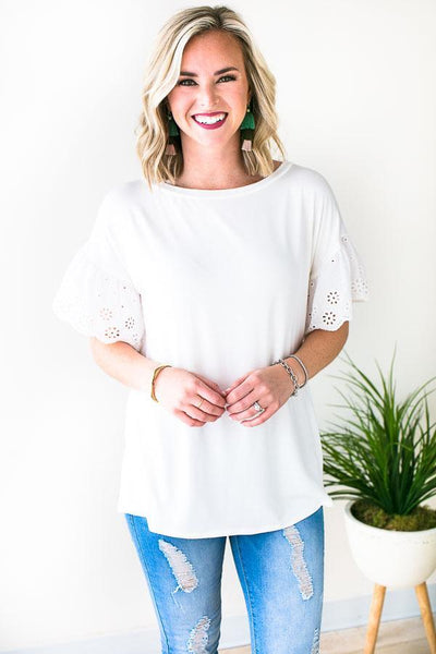 Tops Tennessee Trip Eyelet Sleeve Tee - Lotus Boutique