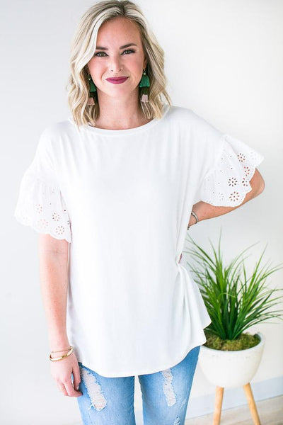 Spring Eyelet Sleeve Top