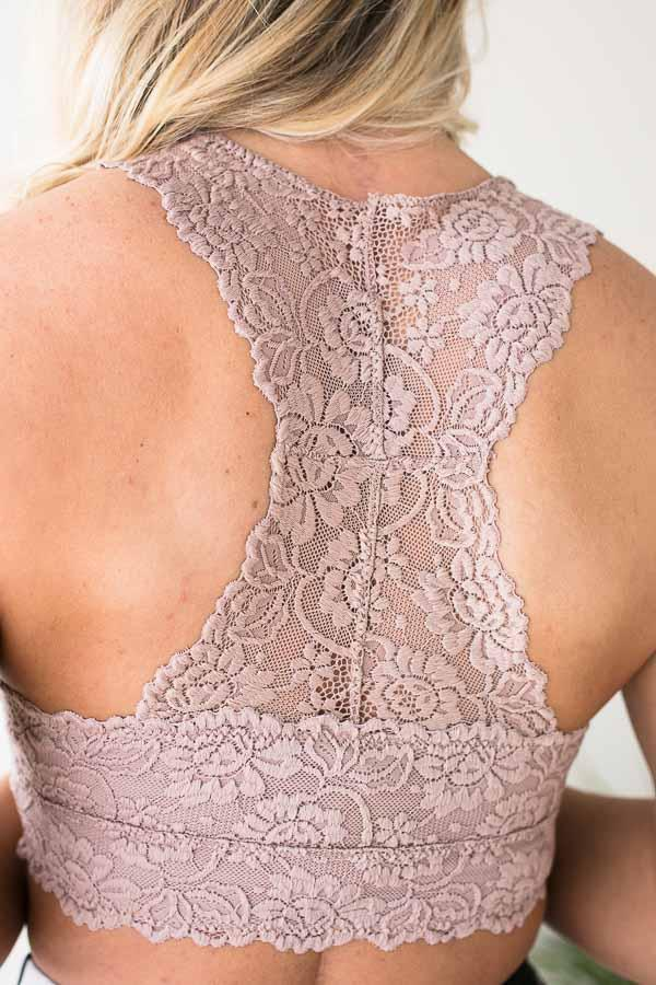Accessories First Rose Taupe Lace Bralette - Lotus Boutique