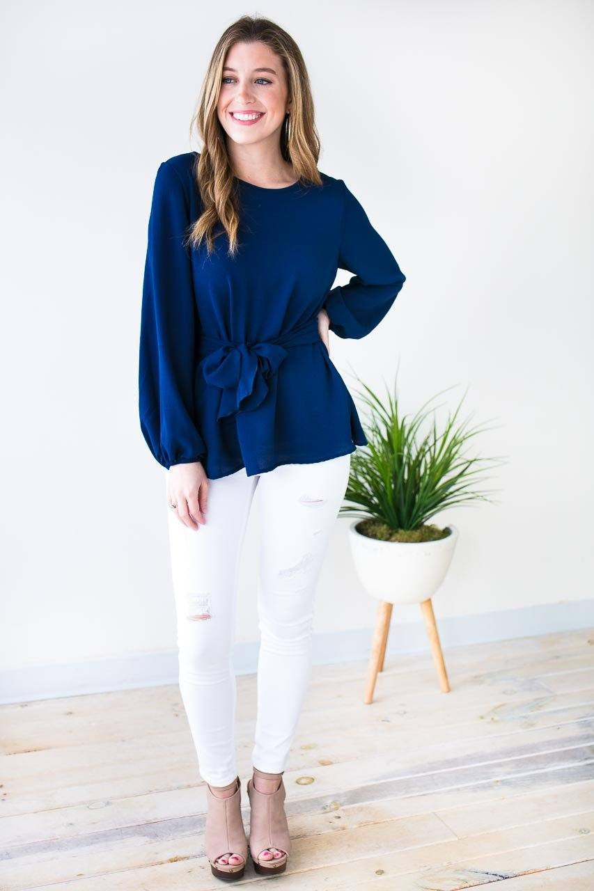 Long Sleeve Navy Blouse With Flattering Tie Waist