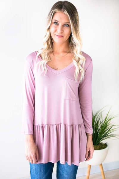 Tops Ruffle Bliss Front Pocket Tunic - Rose - Lotus Boutique