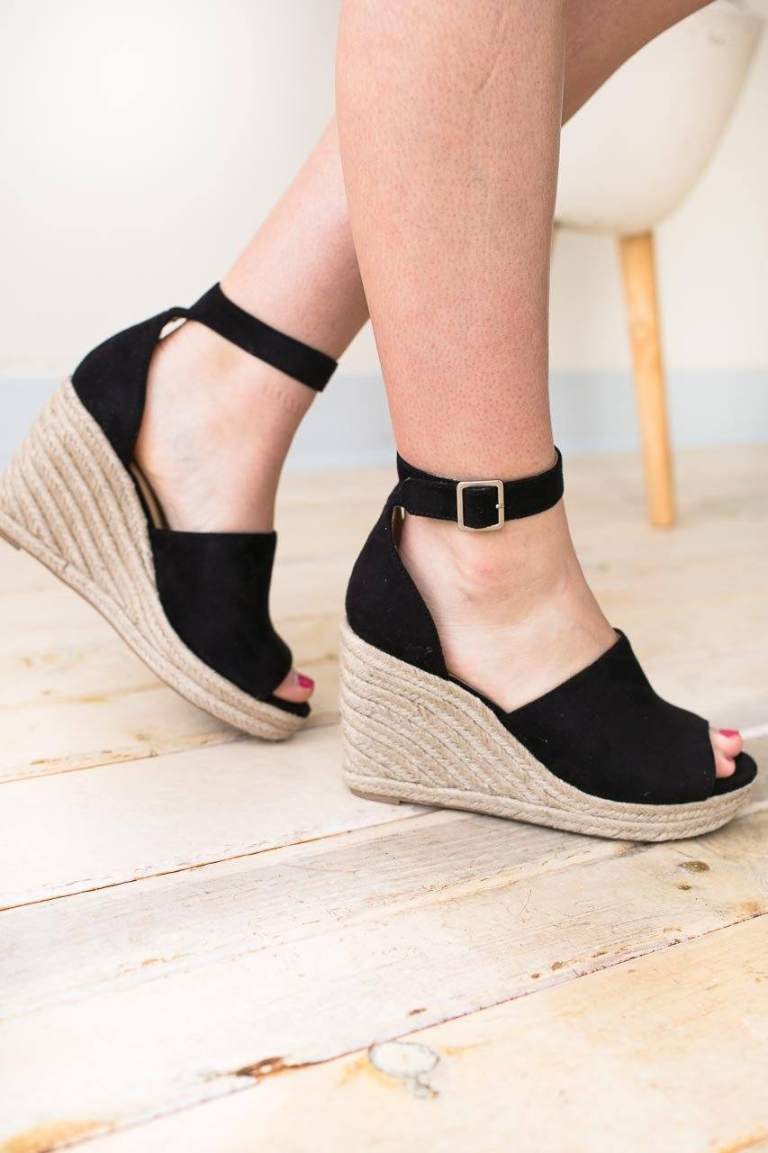 Shoes Charlotte Black Peep Toe Wedge - Lotus Boutique