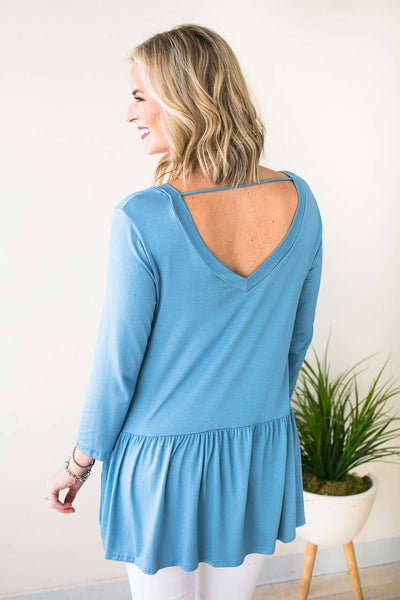 Tops Ruffle Bliss Front Pocket Tunic - Blue - Lotus Boutique