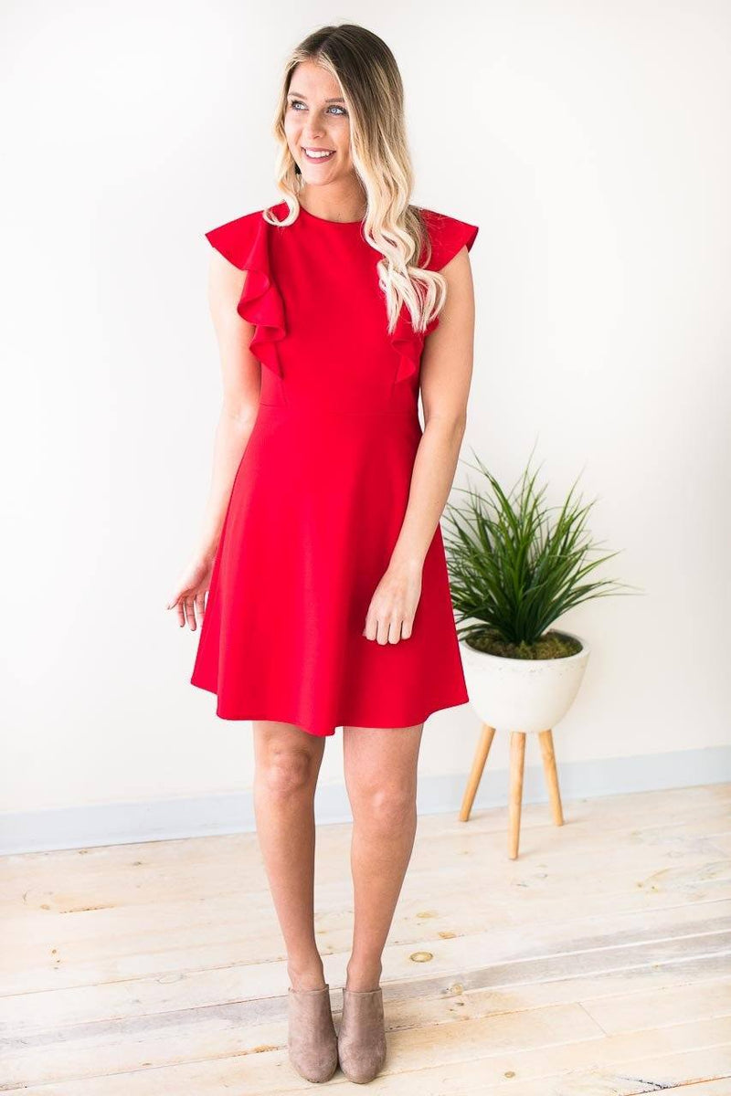 0a24095e0f75 Super Fun Red Dress With Ruffle Detail Great To Dress Up