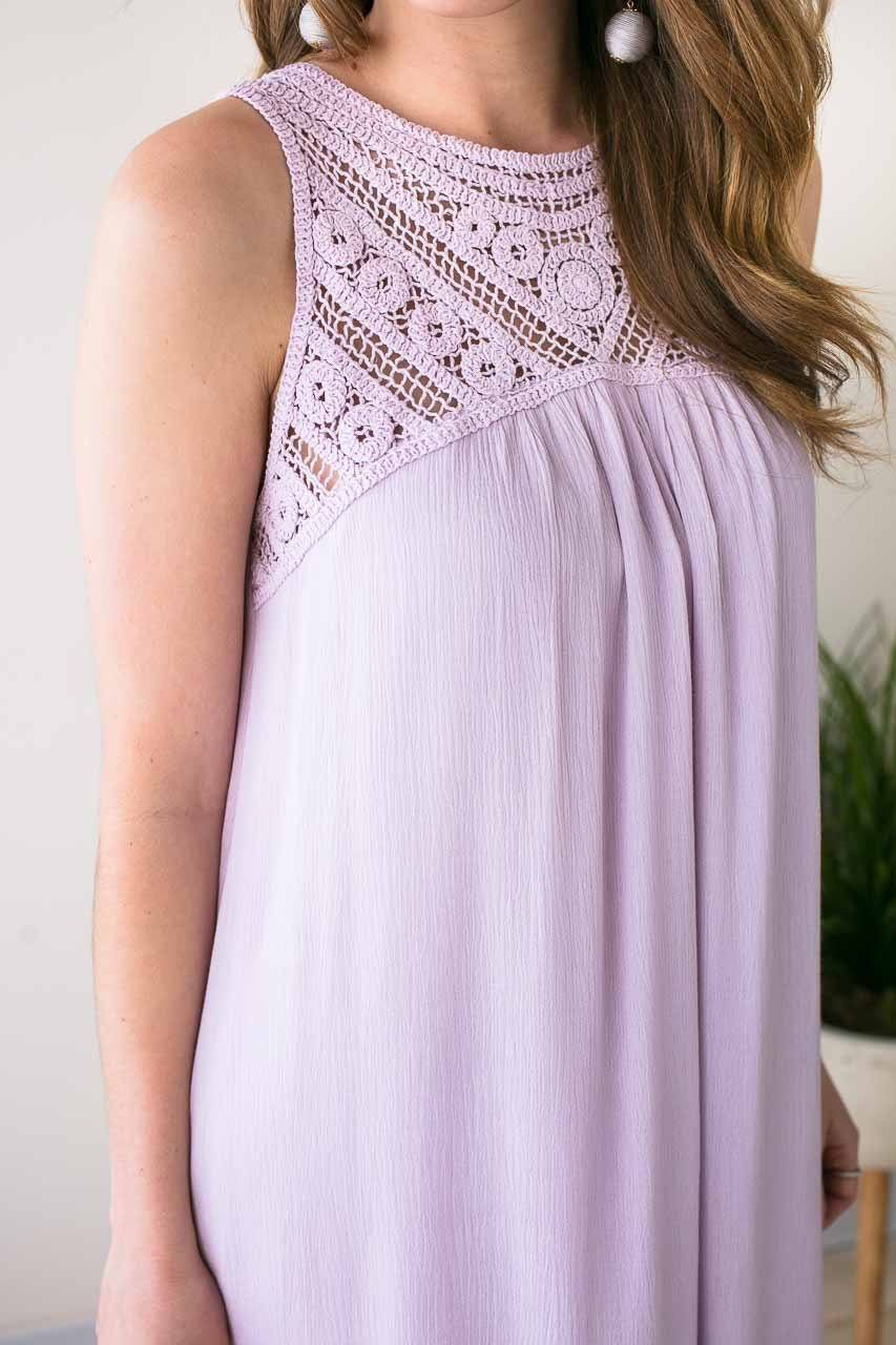 Dresses Have Mercy Lavender Lace Yoke Dress - Lotus Boutique
