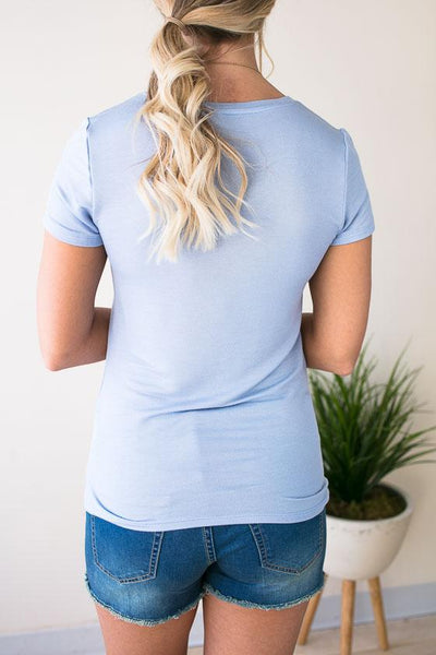 Tops Regulate Front Pocket Tee - Baby Blue - Lotus Boutique