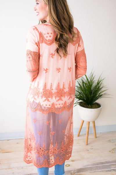 Tops Lost In Time Long Lace Kimono - Dusty Coral - Lotus Boutique